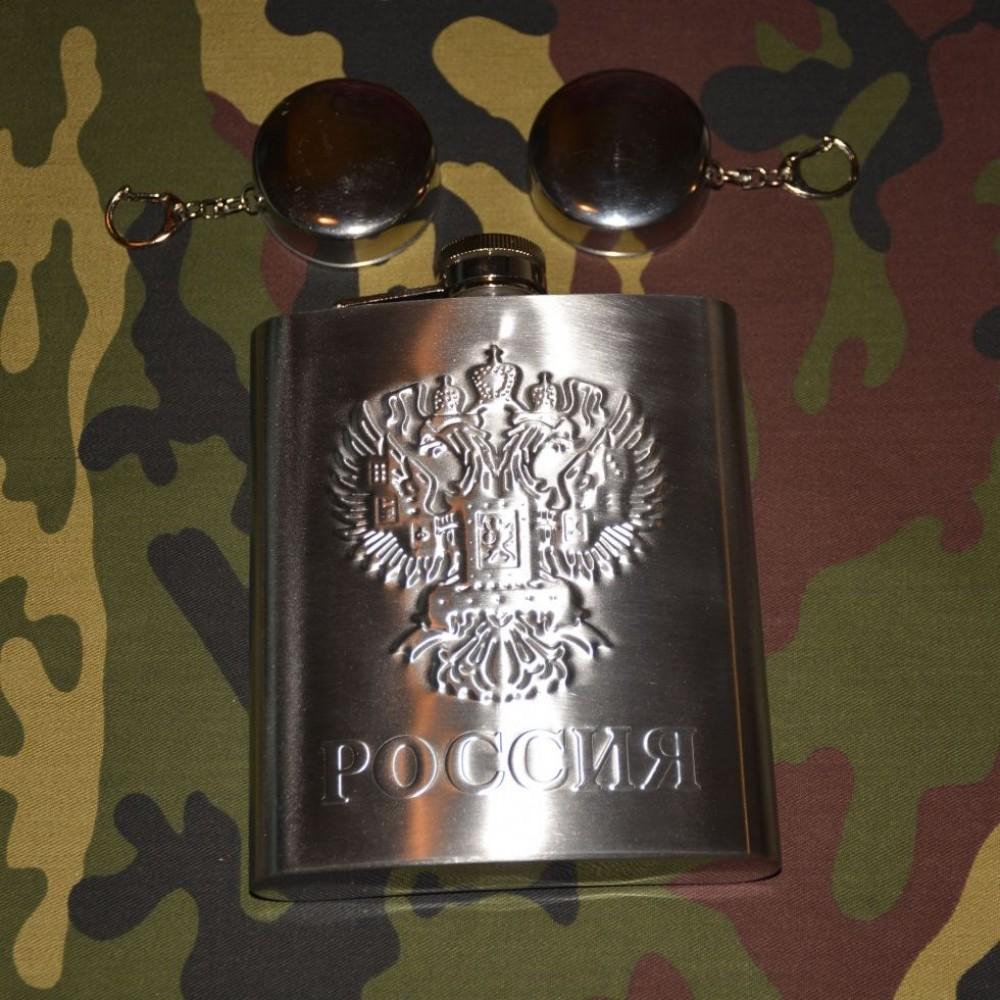Фляга походная РОССИЯ 0,5л.+2 рюмки.
