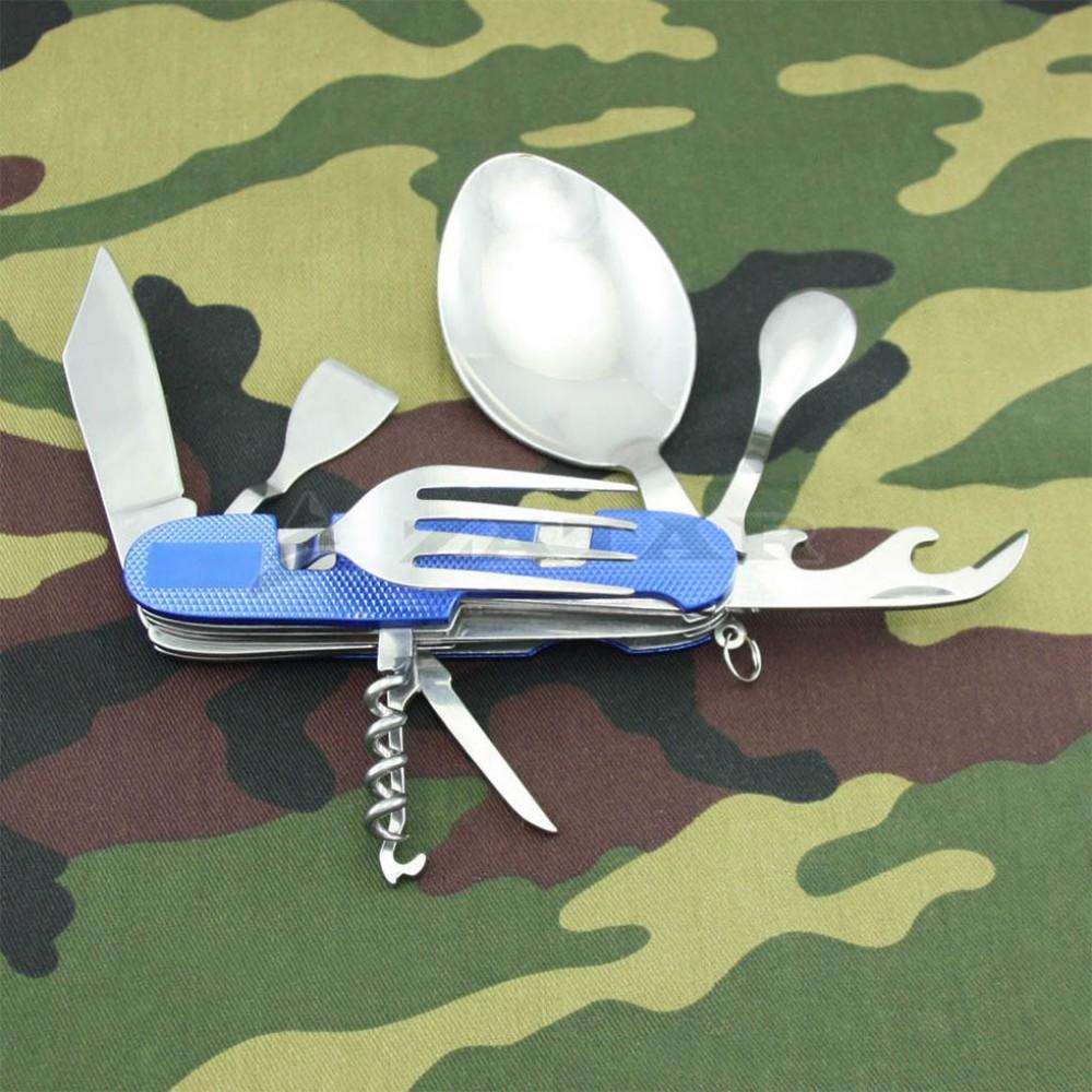 Походный складной набор вилка-ложка-нож 9 в 1