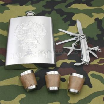 Фляга РОССИЯ 0,5 л., 3 рюмки, походный набор