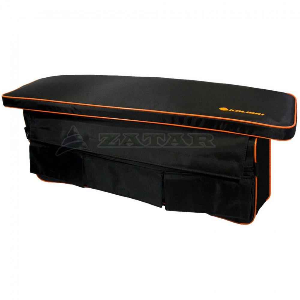 Накладка на банку мягкая 102х25см черная с сумкой-рундуком