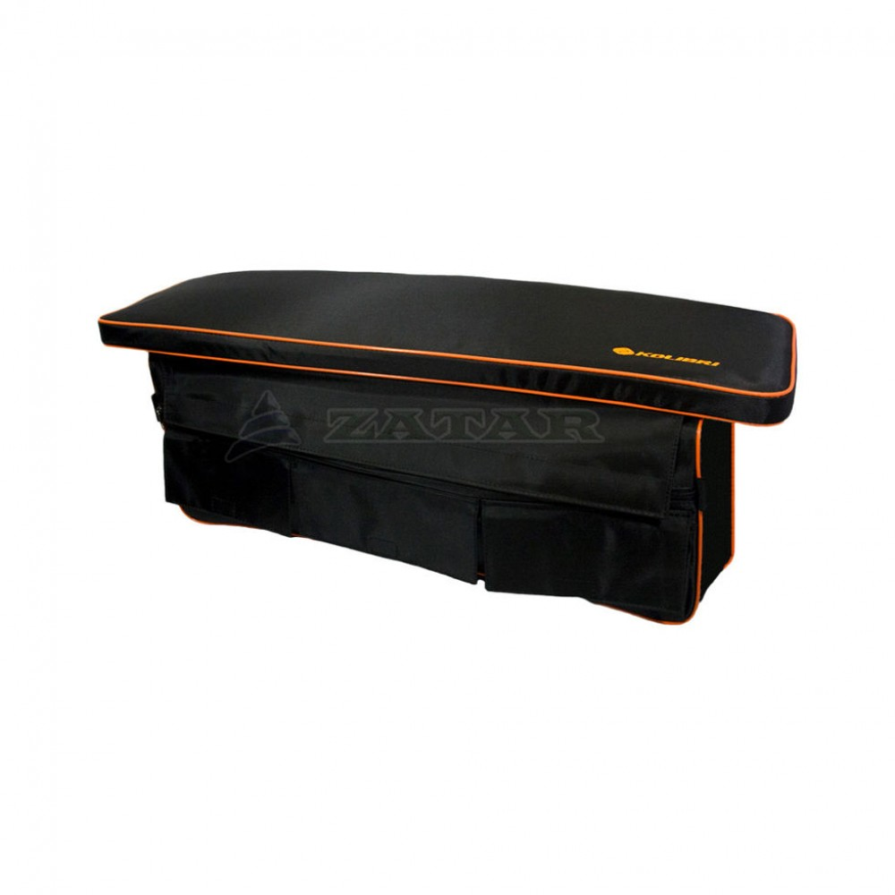 Накладка на банку мягкая 65х20см черная с сумкой-рундуком, Kolibri