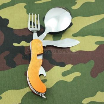 Походный складной набор вилка-ложка-нож 4 в 1