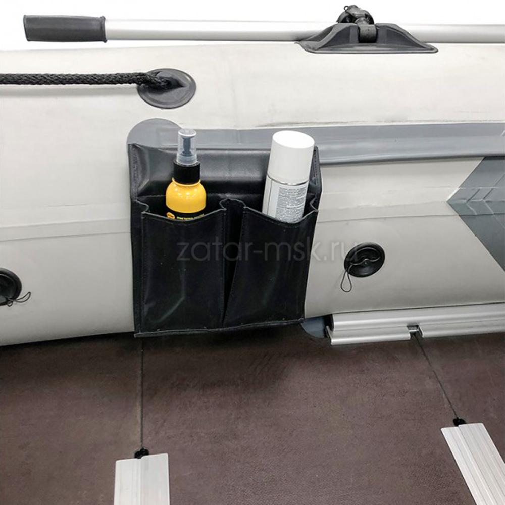 Карман для лодки на ликтрос, 2 отсека, №1.5 Серый + крепления