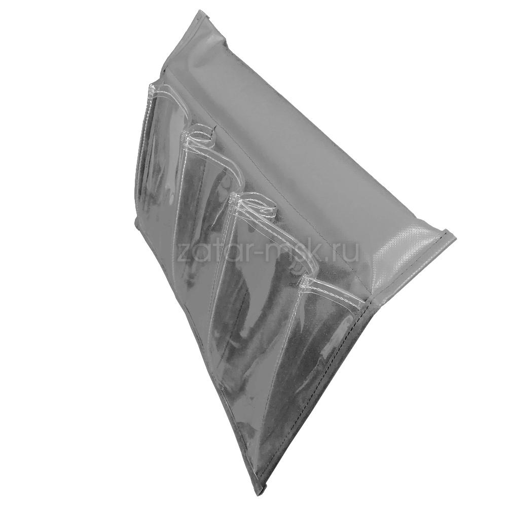 Карман для лодки на ликтрос, 3 прозрачных отсека, №1.5 Серый