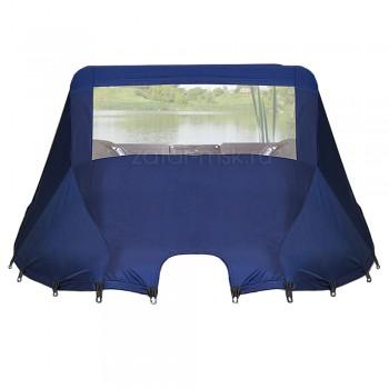 Носовой тент на лодку 300-320, синий №1.4 ходовой (резинки - грибки)
