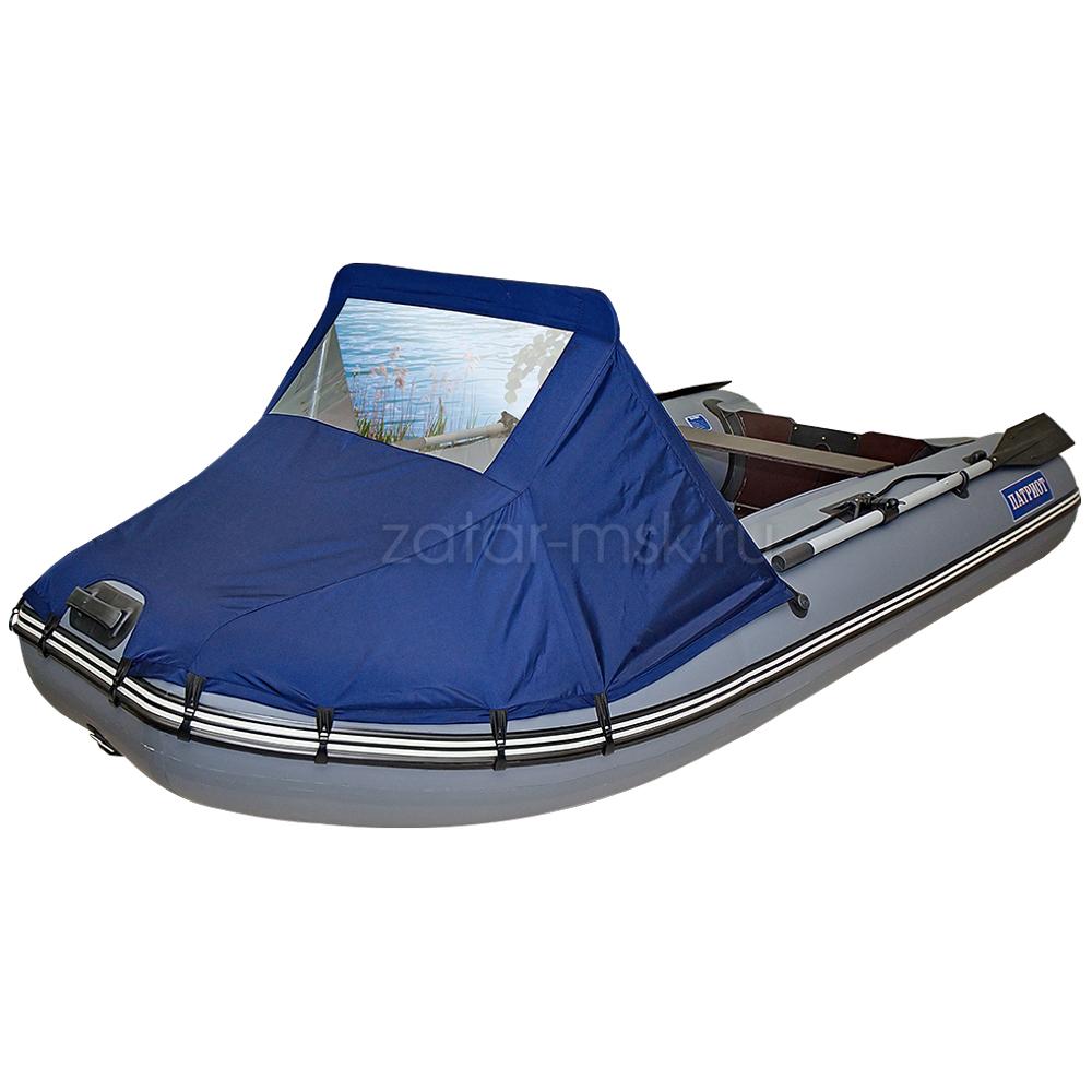 Носовой тент на лодку 300-325, синий №1.4 ходовой (крючки - привал)