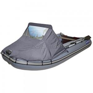 Носовой тент на лодку 300-325, серый №1.4 ходовой (крючки - привал)