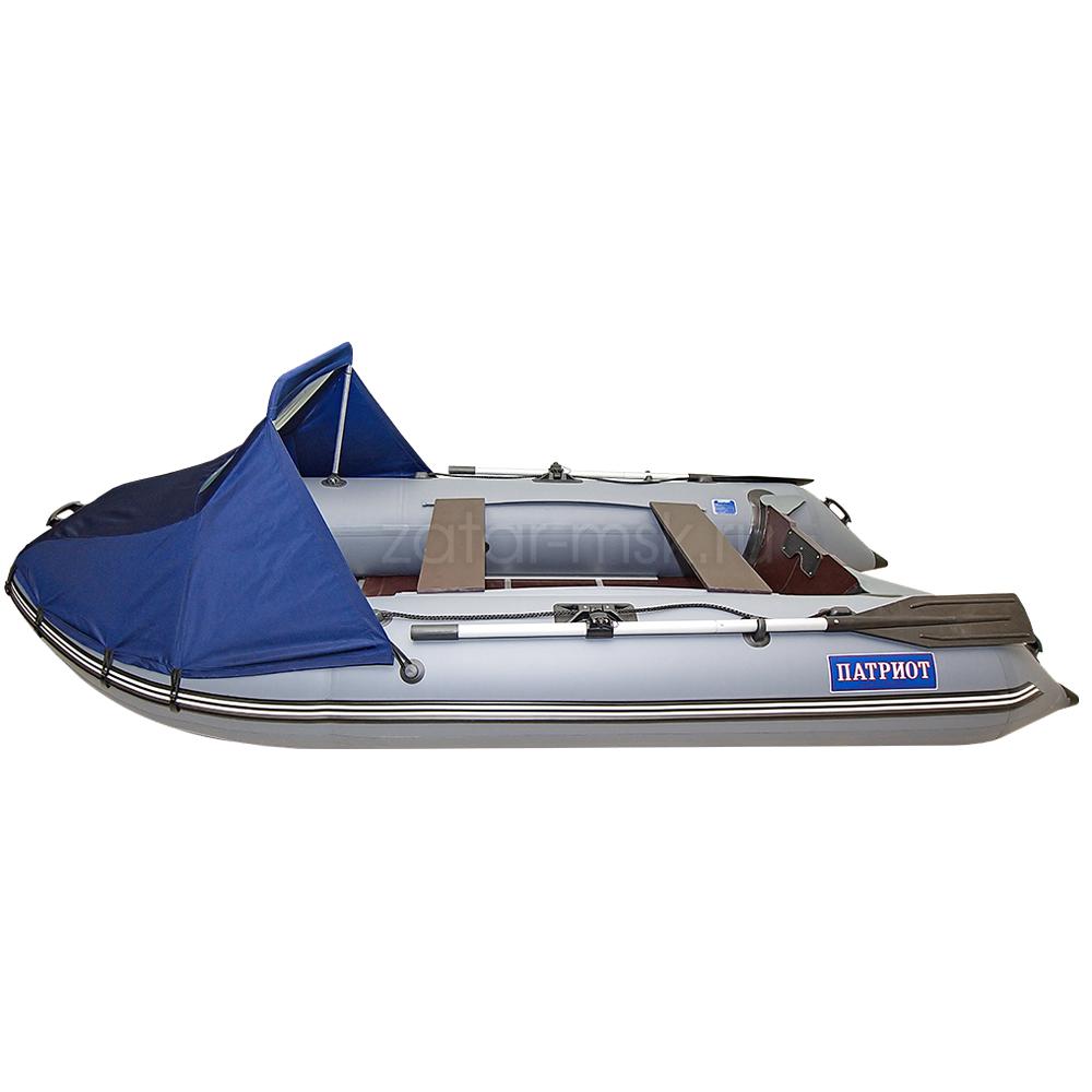 Носовой тент на лодку 360-390, синий №1.4 ходовой (крючки - привал)
