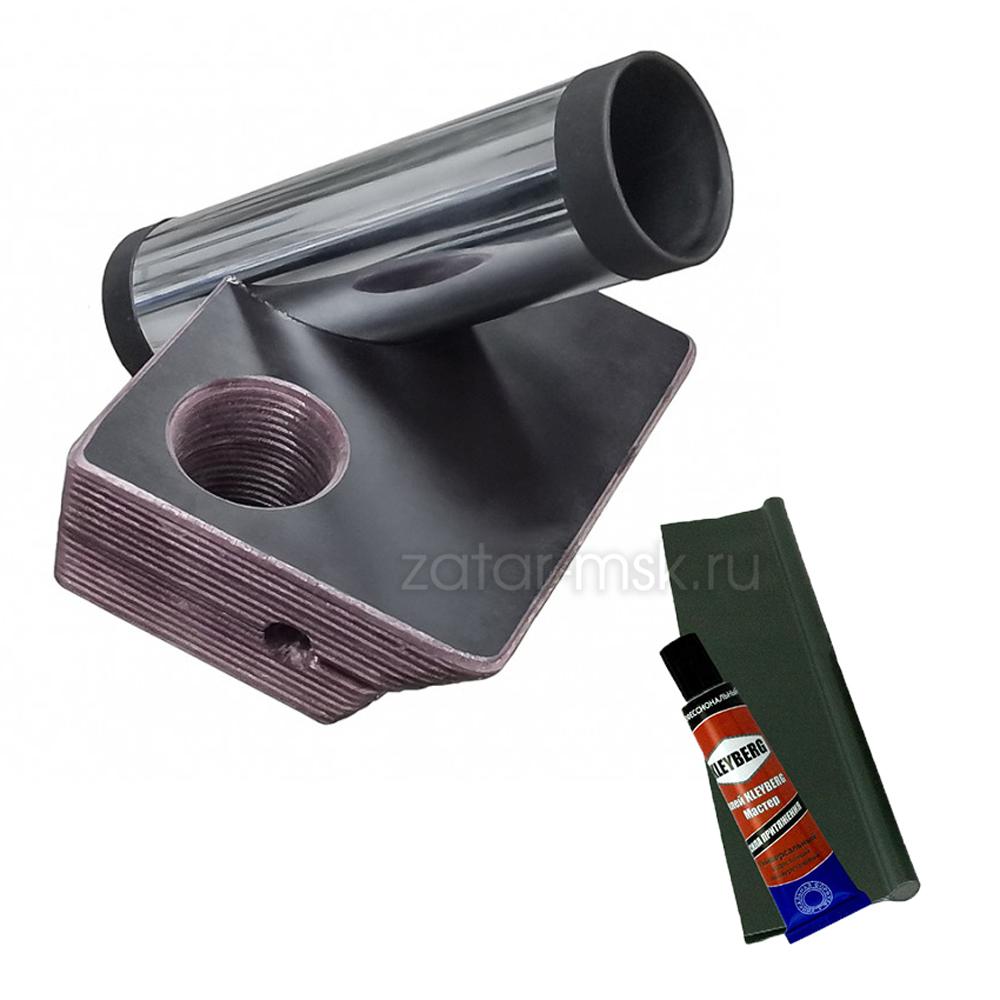 Универсальный крепежный блок №1.5 2-х спиннингов, хром 50мм + 40 мм, ликтрос, клей