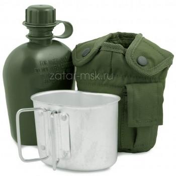 Фляга армейская US Army с кружкой - котелком Олива